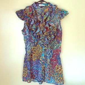 Multi colored and flirty blouse